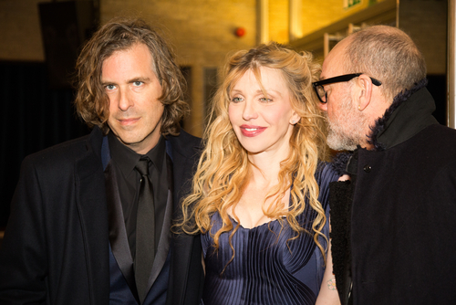 BERLIN, GERMANY - FEBRUARY 07: Director Brett Morgen, Courtney Love and Michael Stipe. 'Cobain: Montage of Heck' premiere. 65th Berlinale Film Festival at Kino International on February 7, 2015. (Shutterstock)