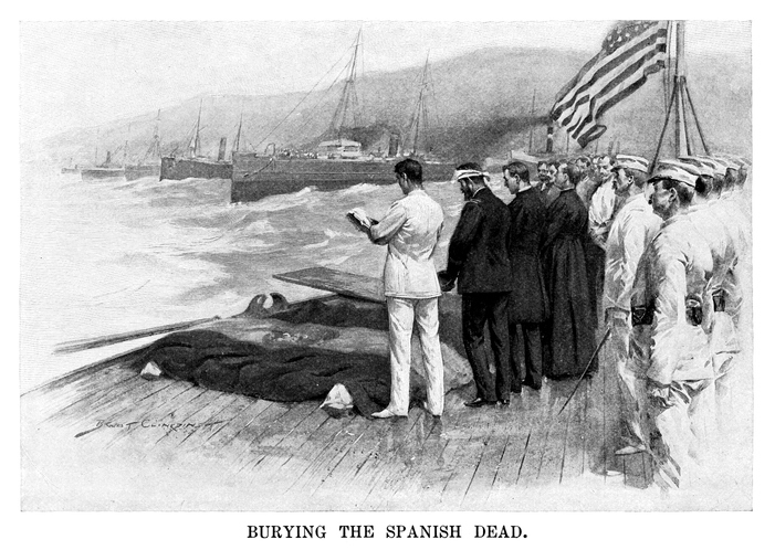 Burying the Spanish dead - Scanned 1899 Engraving. (Getty Images)