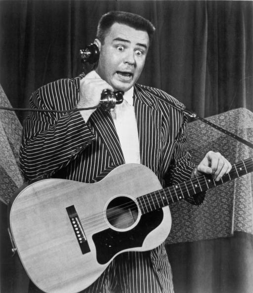 1958: The Big Bopper (Jiles Perry Richardson, Jr.) performs his hit 'Chantilly Lace' on stage in 1958. (Photo by Michael Ochs Archives/Getty Images)