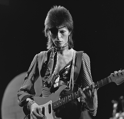 Bowie during recording for the Dutch television program TopPop (1974)