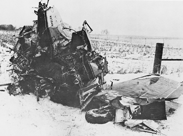 View of the wreckage of a Beechcraft Bonanza airplane in a snowy field outside of Clear Lake, Iowa, early February 1959. The crash, on February 3, claimed the lives of American rock and roll musicians Buddy Holly, Ritchie Valens, and J. P. Richardson (known as 'The Big Bopper'). (Photo by Hulton Archive/Getty Images)