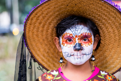 MEXICO CITY - OCT 23: Unknown participant on a Parade of Catrinas in Paseo de la Reforma Avenue, Mexico, on October 23 2016. The Day of the Dead is one of the most popular holidays in Mexico. (Shutterstock)