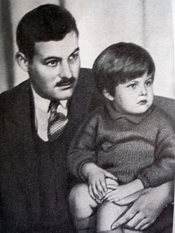 Ernest Hemingway with son John Hadley Nicanor (Bumby). (Wikimedia Commons)