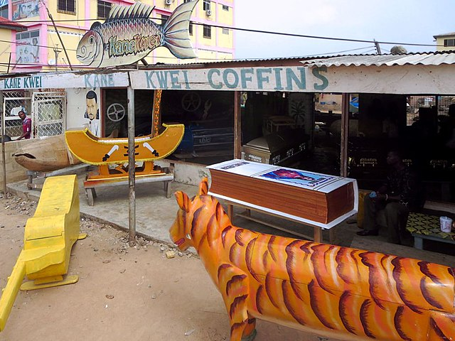 Since the 1950s, fantasy coffins of the Ga people have been produced at the Kane Kwei Carpentry Workshop in Accra, Ghana. (Kane Kwei Carpentry Workshop/Wikimedia Commons)