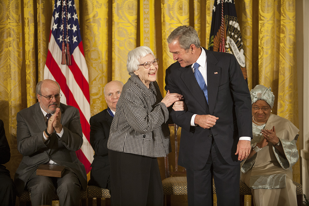 President George W. Bush awards the Presidential Medal of Freedom to author Harper Lee during a ceremony Monday, Nov. 5, 2007, in the East Room.