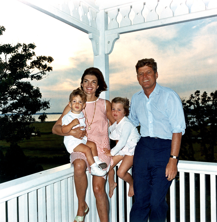 President John F. Kennedy, First Lady Jacqueline Kennedy, and their children John, Jr. and Caroline, at their summer house in Hyannis Port, Massachusetts. (Cecil W. Stoughon)