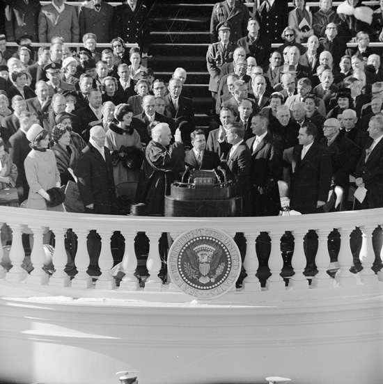 Inauguration of John Fitzgerald Kennedy, January 20, 1961. (Record Group 111, Records of the Office of the Chief Signal Officer)