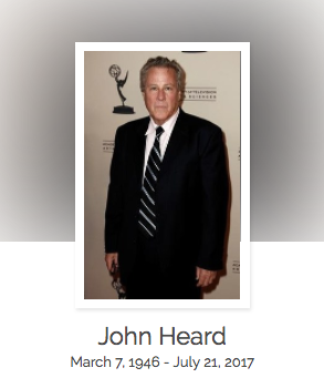 Click here to read John Heard's full obituary story on Beyond the Dash.