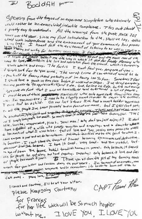 The suicide note by Kurt Cobain, found on April 8, 1994 but probably written on April 5. (Wikimedia Commons)