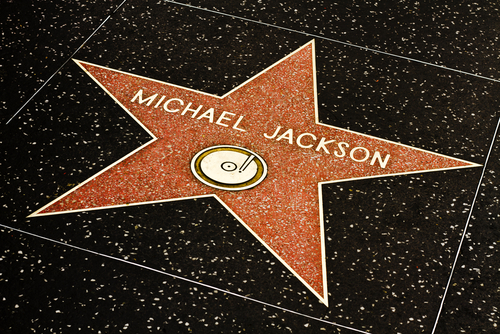LOS ANGELES-MARCH 1: Michael Jackson's star on the Hollywood Walk of Fame on March 1, 2011 in Los Angeles. The singer's star and the Walk of Fame draw tourists from all over the world. (Shutterstock)
