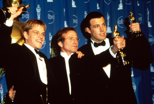 Matt Damon, Robin Williams, Ben Affleck with their Academy Awards for GOOD WILL HUNTING, 1998. (Shutterstock)