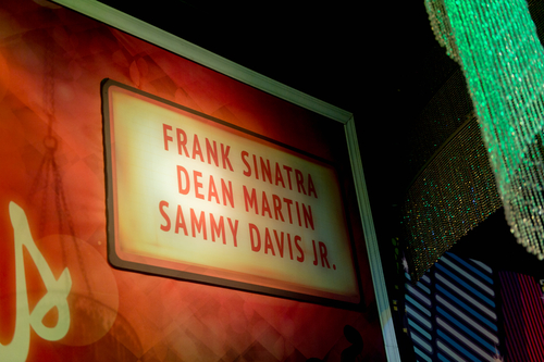 LAS VEGAS, USA - SEP 19, 2017: Frank Sinatra, Dean Martin, Sammy Davis Jr. inscription, Madame Tussauds wax museum in Las Vegas Nevada. (Shutterstock)