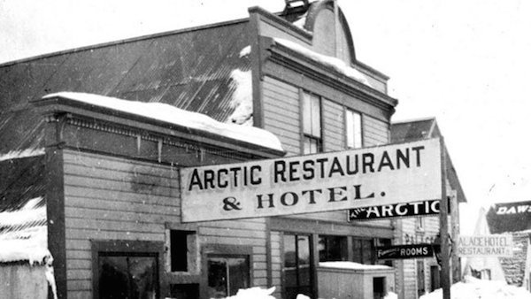 The Arctic Restaurant and Hotel in Whitehorse, Yukon; co-owned by Fredrick Trump. (Royal BC Museum and Archives Ca. 1899)