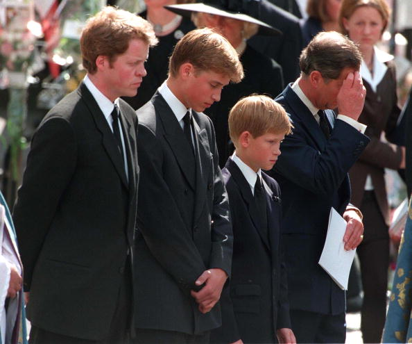 Princess Diana's sons Princes William and Harry with their father Prince Charles and uncle Earl Spencer outside Westminster Abbey on the day of their mother's funeral service, 6th September 1997. (Photo by Jayne Fincher/Getty Images)