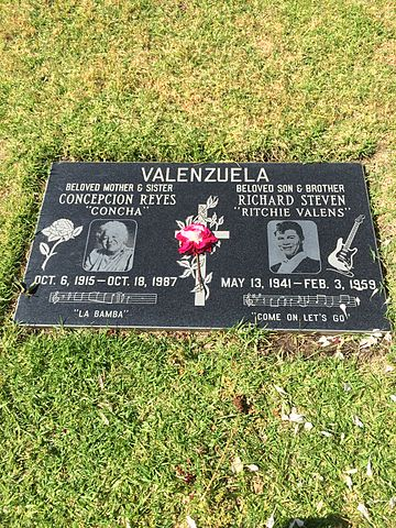 Grave of Ritchie Valens at San Fernando Mission Cemetery. (Wikimedia Commons)
