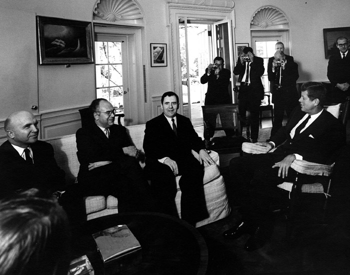 President Kennedy meets with Soviet Ambassador Andrei Gromyko in the Oval Office. The President but does not reveal that he is now aware of the missile build-up. (White House)