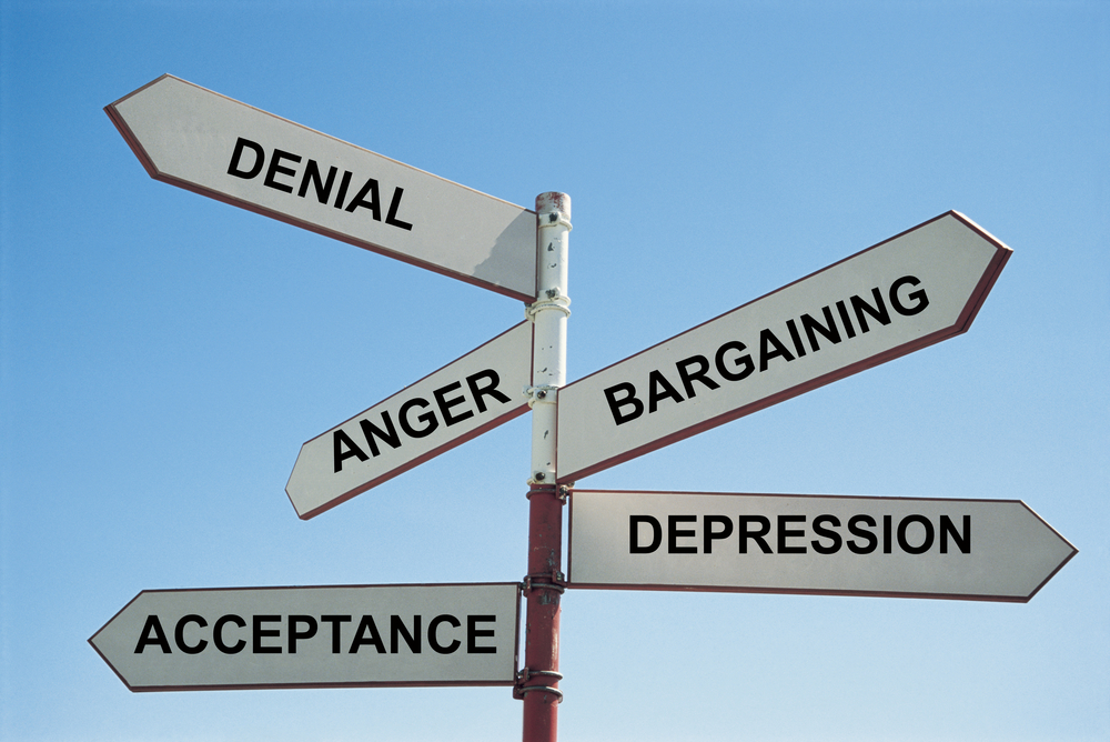 The five stages of grief are: Denial, Anger, Bargaining, Depression and Acceptance. (Shutterstock)